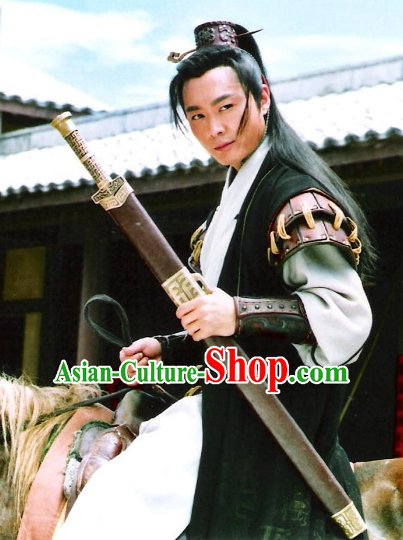 Ancient Chinese Style Swordsman Costume Complete Set for Men Boys