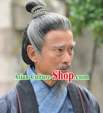 Chinese Traditional Style Grey Long Wigs for Men