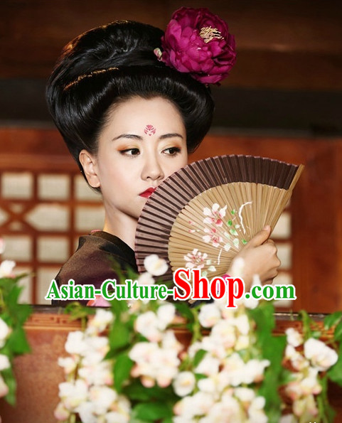 Chinese Traditional Style Princess Black Wigs and Flower Decorations for Women