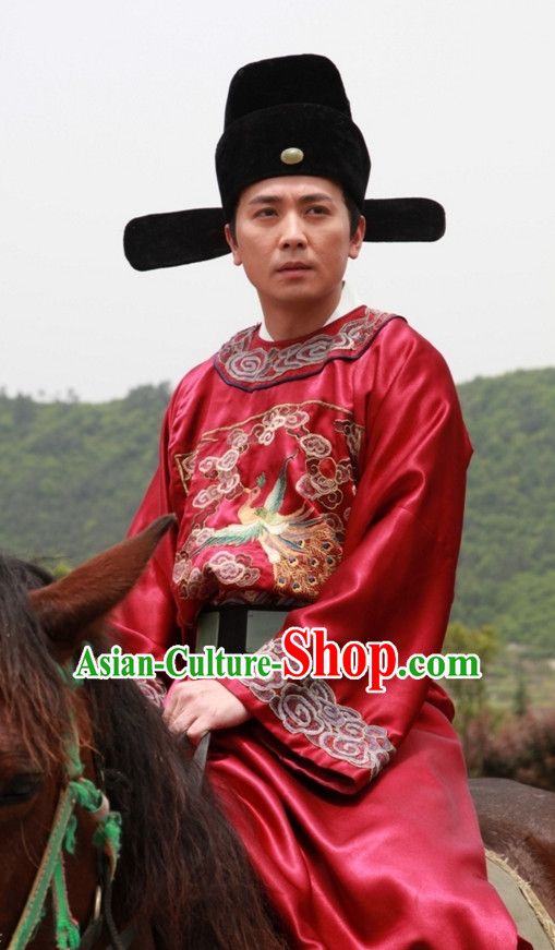 Ancient Chinese Style Official Costumes and Hat Complete Set for Men Boys
