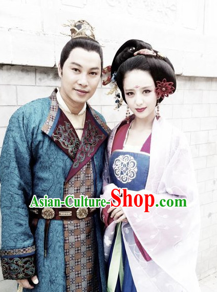 Ancient Chinese Style Prince and Concubine Costumes and Headwear 2 Complete Sets