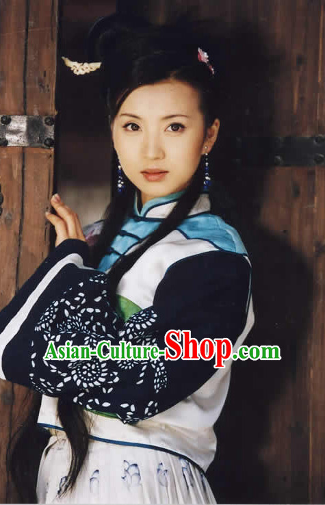Chinese Traditional Style Black Wigs Full Set for Women