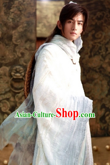 Traditional Chinese Ancient White Male Hanfu Suits Complete Set