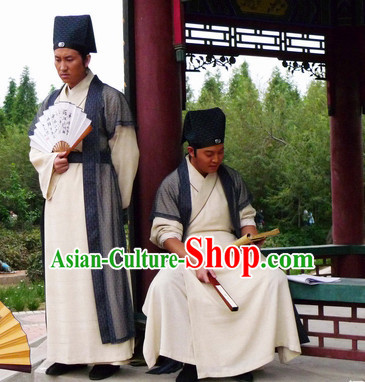 Traditional Chinese Ancient Teacher Painter Costume and Headband Complete Set for Men