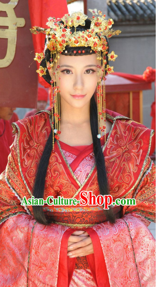 Traditional Chinese Ancient Lady Wedding Garment and Hairpieces Complete Set for Women