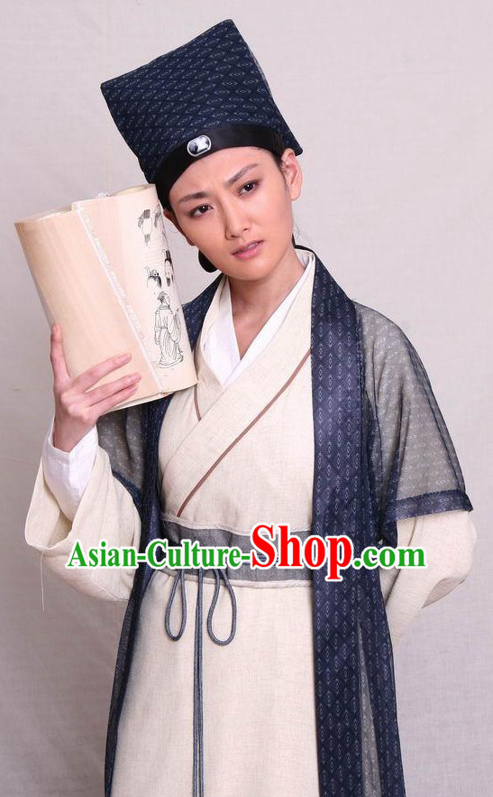 Traditional Chinese Ancient Student Scholar Costumes and Hat Complete Set
