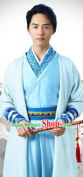 Traditional Chinese Ancient Musician Costume Complete Set for Men