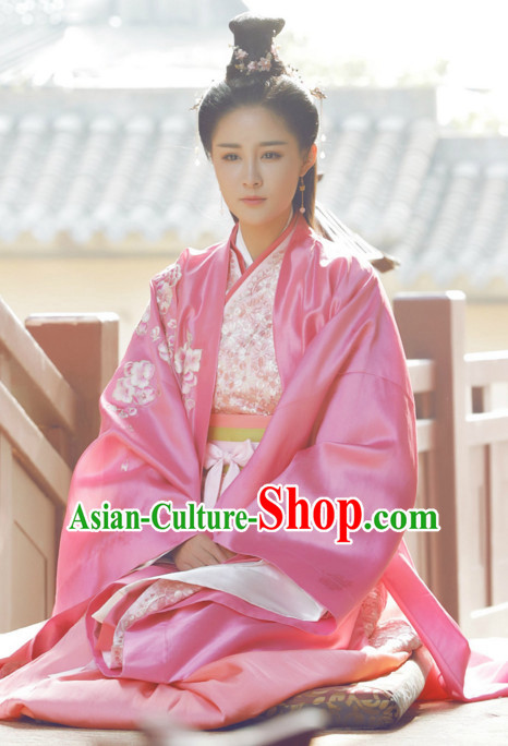 Traditional Chinese Ancient Princess Costumes and Hairpieces Complete Set for Women