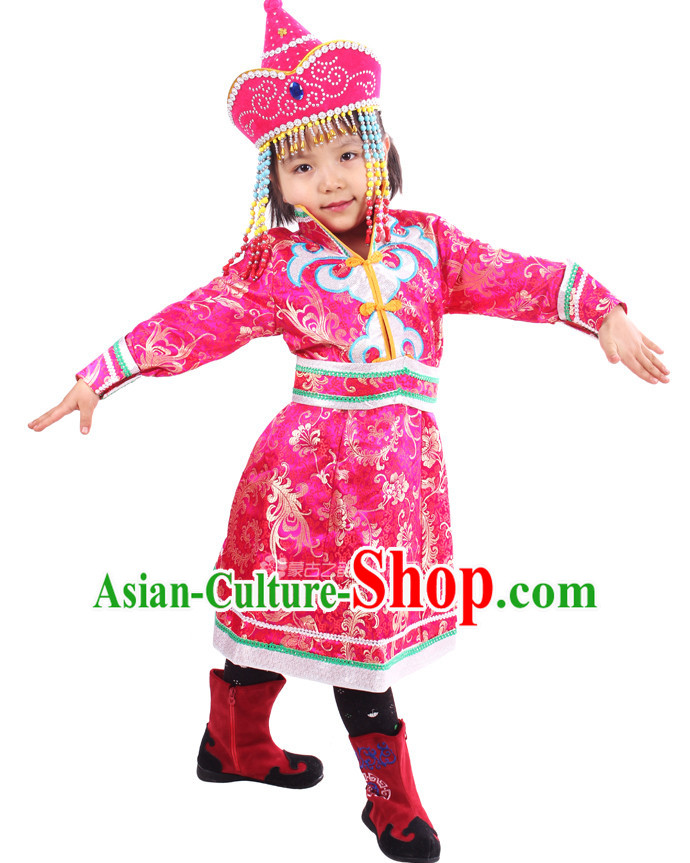 Chinese Traditional Mongolian Clothing and Hat Complete Set for Girls