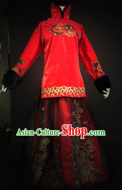 Chinese Traditional Mandarin Wedding Dresses Complete Set for Women Girls