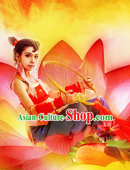 Chinese Stage Performance TV Drama Nezha Divine Warrior Costume Complete Set for Women Men