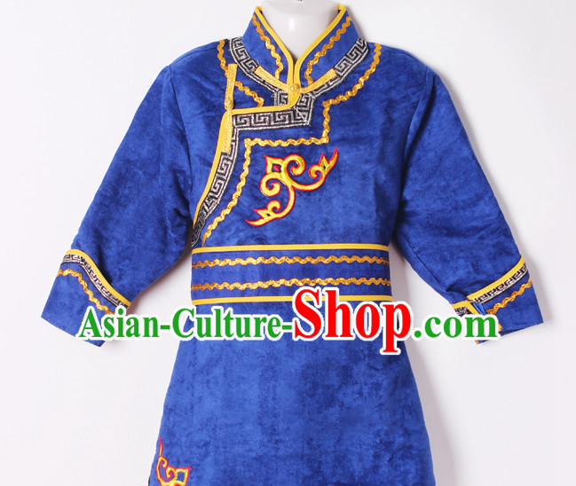 Chinese Traditional Ethnic Mongolian Dresses Complete Set for Girls Boys