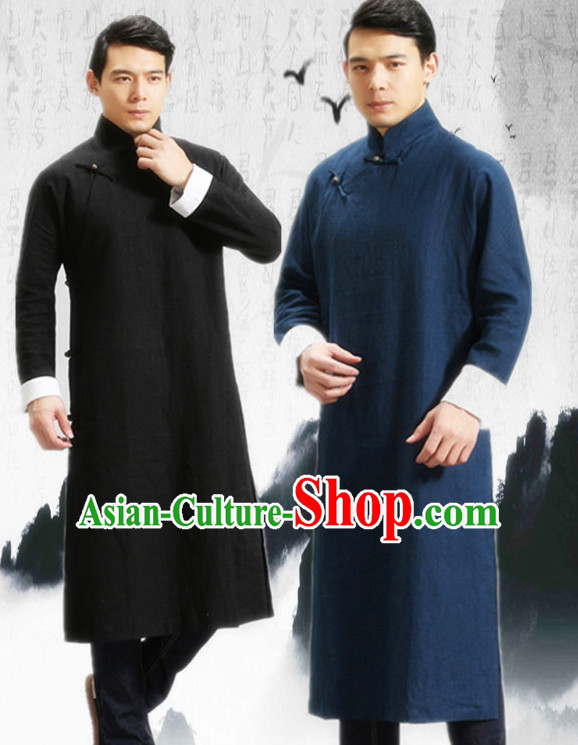 Deep Blue Long Minguo Style Male Mandarin Robe for Men or Boys