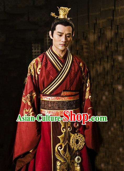 Ancient Chinese Emperor Garment and Crown Coronet Complete Set for Men