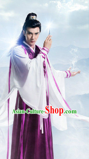 Ancient Chinese Wuxia Drama Knight Clothes Complete Set for Men