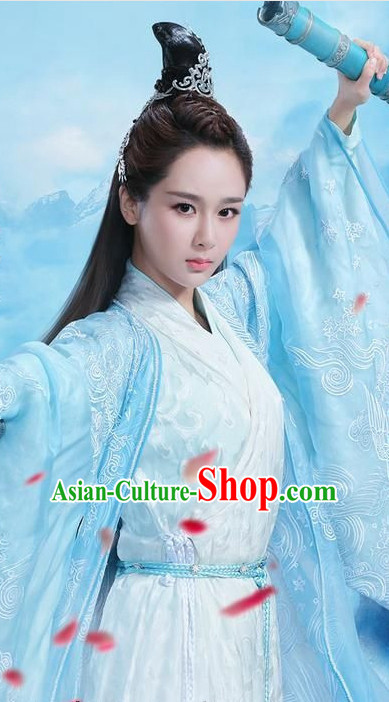 Ancient Traditional Chinese Style Fairy Dresses and Hair Jewelry Complete Set for Women