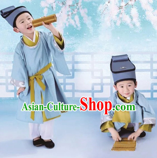 Ancient Chinese Scholar Student Costumes Complete Set for Boys Children