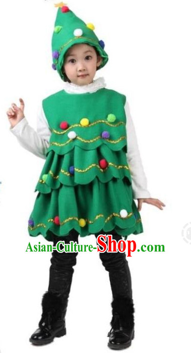 Chinese Christmas Tree Dance Dress for Children Girls