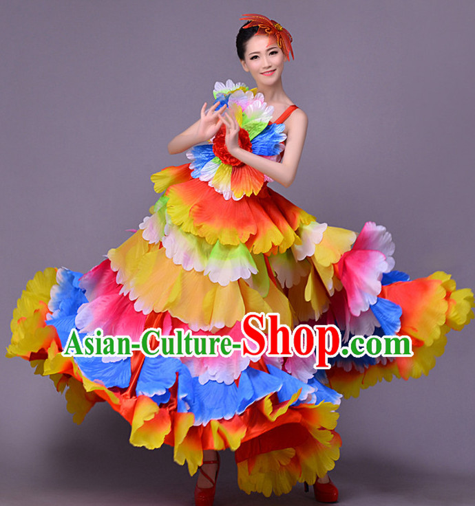 Traditional Chinese Flower Dance Flower Dancing Costume and Head Wear Complete Set for Women
