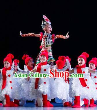 Chinese Snowman Dance Costume and Headdress for Children