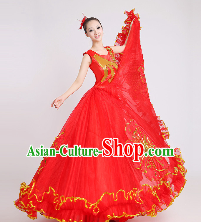 Chinese Flower Dance Costume and Headdress for Women
