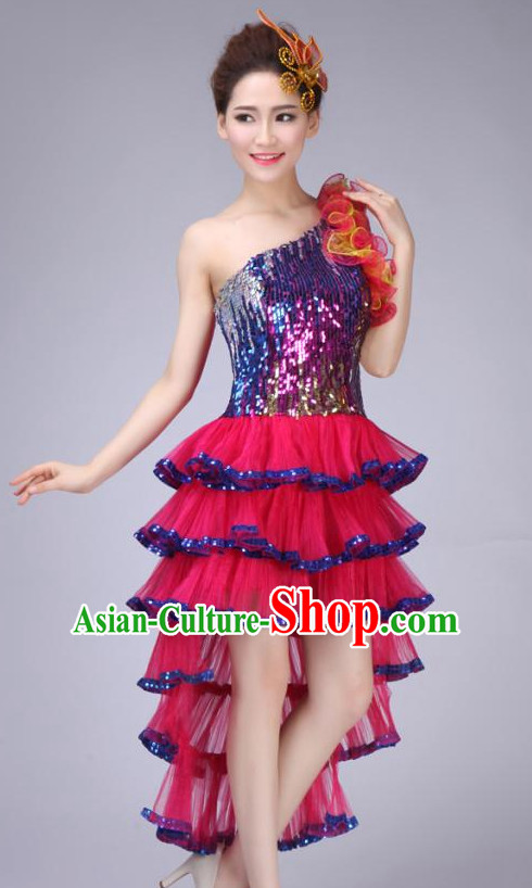 Chinese Modern Dance Costume and Headdress for Children Girls