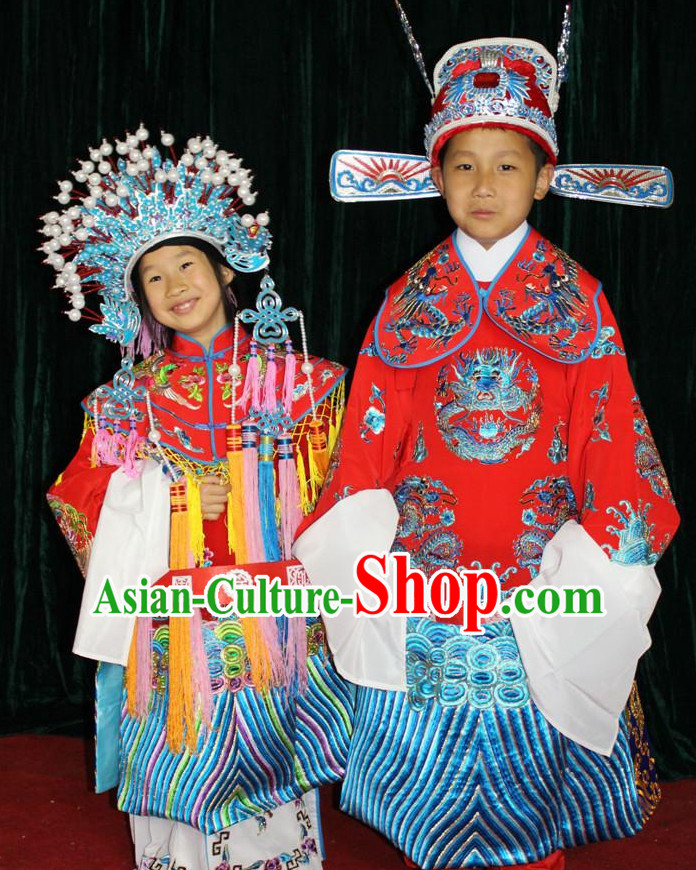 Chinese Opera Bridal Wedding Costumes and Hats 2 Complete Sets for Children Boys and Girls