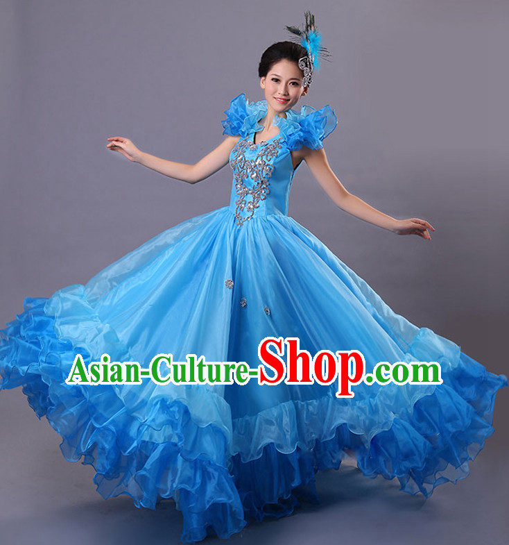 Chinese Stage Spainish Dancing Costumes and Headdress for Women
