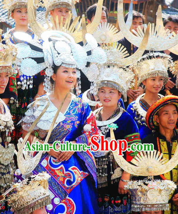 Top Chinese Traditional Miao Ethnic Clothing and Silver Hat Complete Set for Women or Girls
