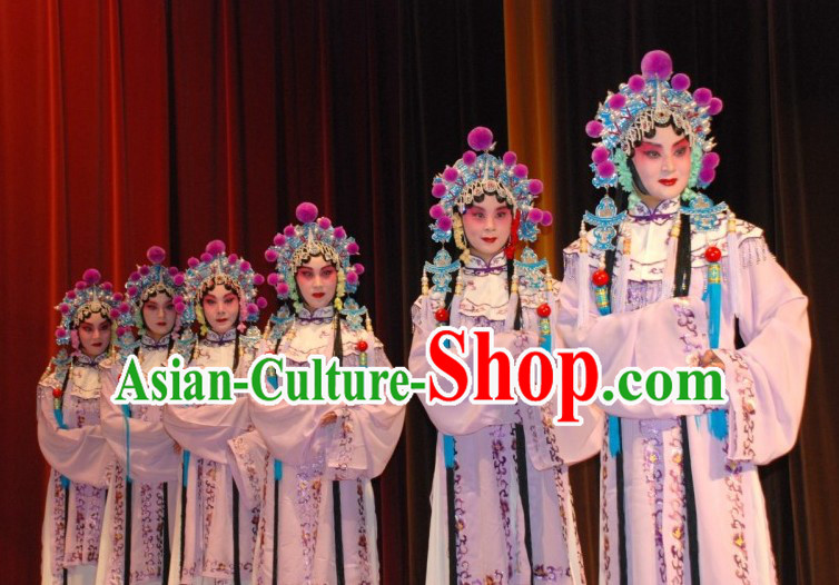 Chinese Traditional Opera Costumes and Headpieces Complete Set for Women or Girls
