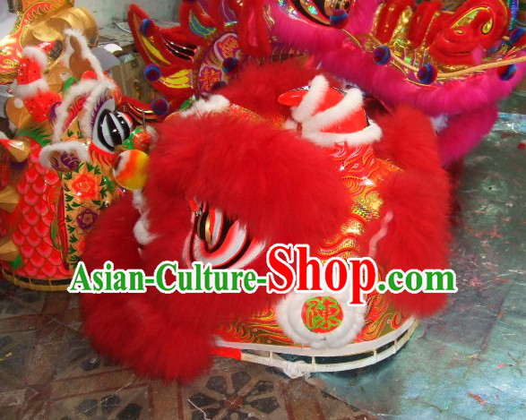 Top Red 2008 Beijing Olympic Chinese Classical 100_ Natural Long Wool Lion Dance Costumes Complete Set