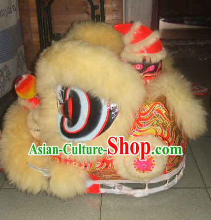 Top Beige 2008 Beijing Olympic Chinese Classical 100_ Natural Long Wool Lion Dance Costumes Complete Set