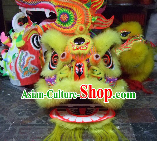 Top Yellow Chinese Classic 100_ Natural Long Wool Fut San Style Lion Dance Costumes Complete Set