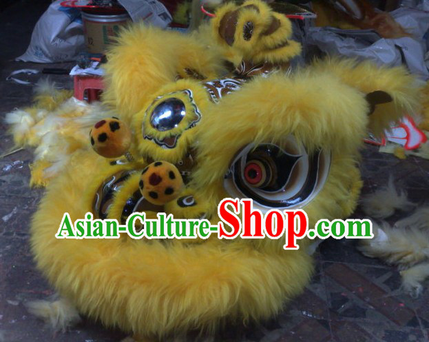 Top Yellow Chinese Classic 100_ Natural Long Hok San Style Lion Dance Costumes Complete Set