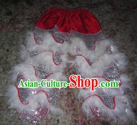 Chinese Traditional 100_ Natural Long Wool Lion Dance Pants Claws Set
