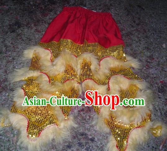 White Chinese Traditional 100_ Natural Long Wool Lion Dance Pants Claws Set