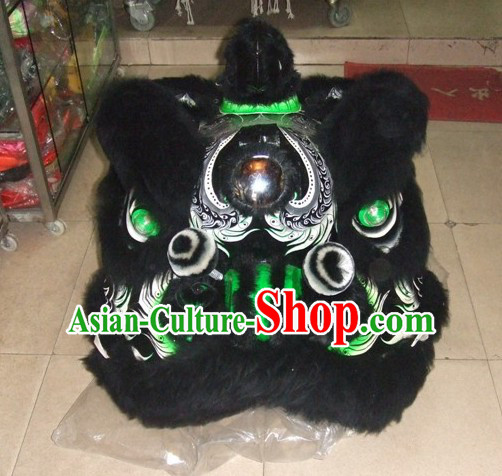 Top Ancient Chinese Zhang Fei Natural Wool Traditional Futsan Style Lion Dance Costumes Complete Set