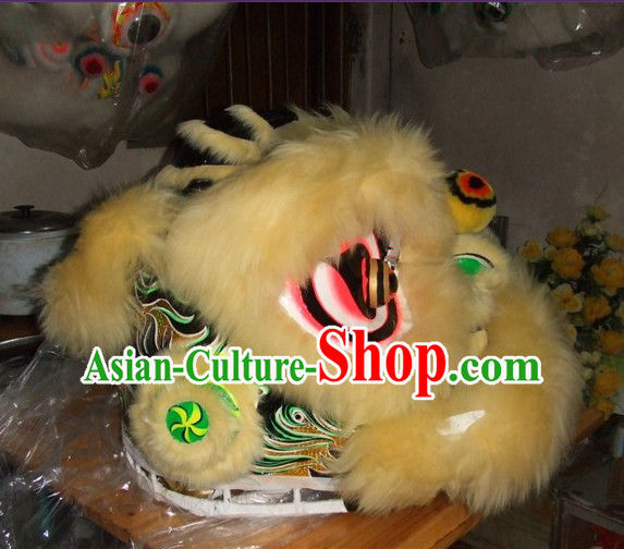 Top Teenagers Students Chinese Classical 100_ Natural Long Wool Fut San Lion Dance Costumes Complete Set