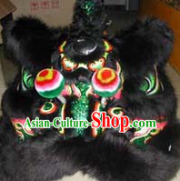 Top Black Green Teenagers Students Chinese Classical 100_ Natural Long Wool Fut San Lion Dance Costumes Complete Set