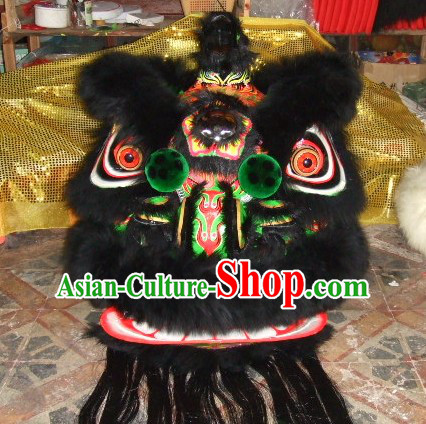 Top Black Long Wool Ancient Chinese Traditional Lion Dance Costumes Complete Set