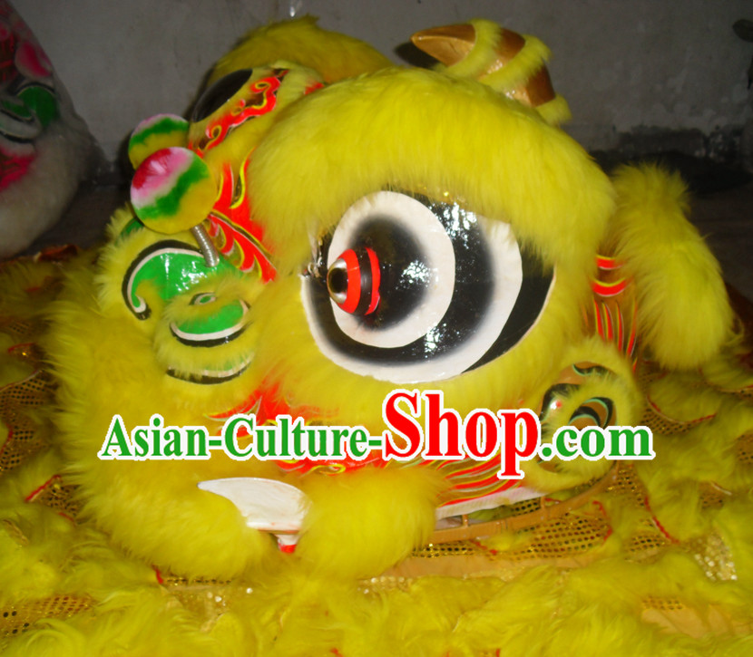 Yellow Top Asian Chinese Lion Dance Troupe Performance Suppliers Pants Equipments Art Instruments Lion Tail Costumes Complete Set for Women