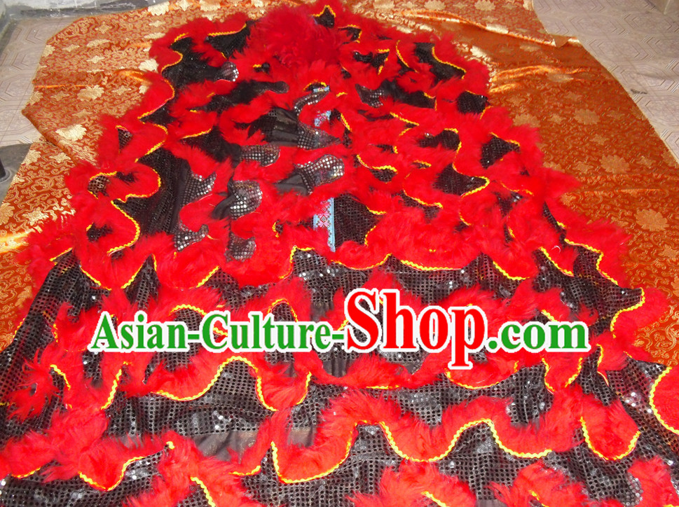Black Wool Top Asian Chinese Lion Dance Troupe Performance Suppliers Pants Equipments Art Instruments Lion Tail Costumes