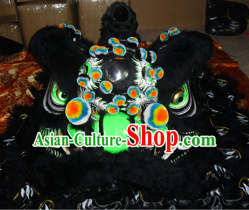 Black Wool Top Asian Chinese Lion Dance Troupe Performance Suppliers Pants Equipments Art Instruments Lion Head Tail Costumes Complete Set