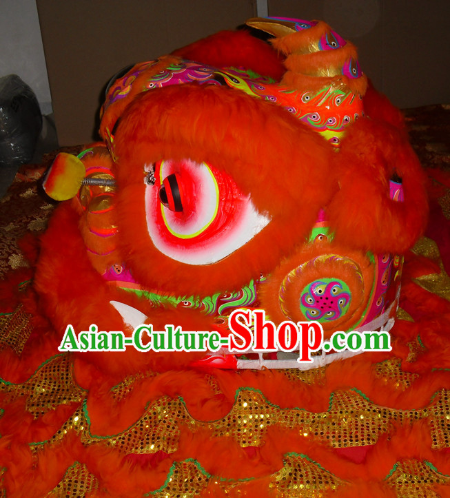 Orange Color Top Asian Chinese Lion Dance Troupe Performance Suppliers Pants Equipments Art Instruments Lion Head Tail Costumes Complete Set