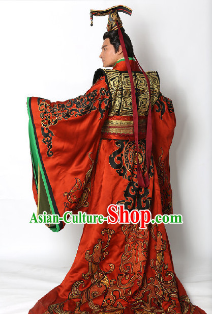 Ancient Chinese Emperor Imperial Palace Garments and Crown Complete Set for Men