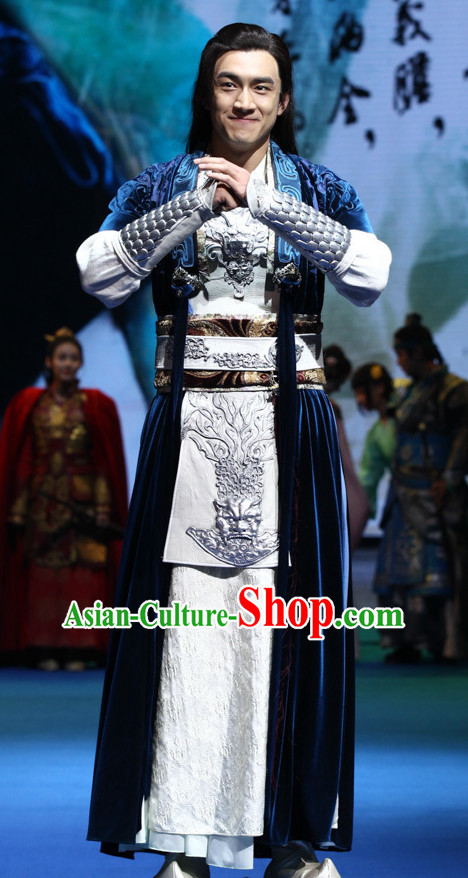Ancient Chinese Superhero Zhao Zilong Costume Garments Complete Set for Men