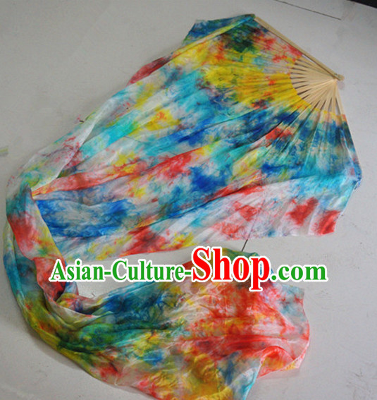 Pure Silk Chinese Color Transition Long Silk Dance Ribbon Fan