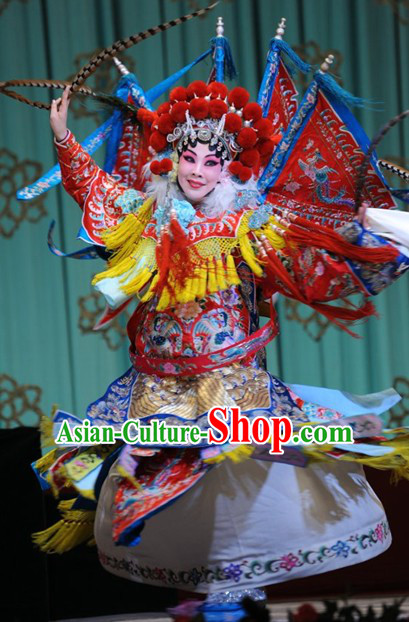 Chinese Beijing Opera Mu Guiying Superheroine Costume and Hair Accessories Complete Set for Women