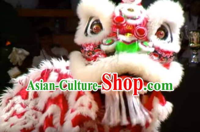 Chinese Classical Style Red Fut San Lion Dance Equipments Complete Set