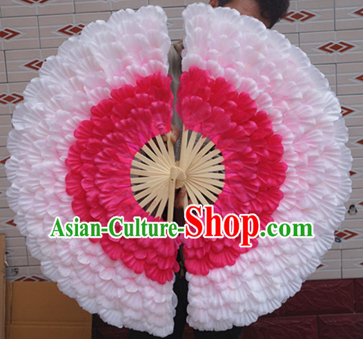 Peacock Shape Peony Flower Eight Layers Dance Fan